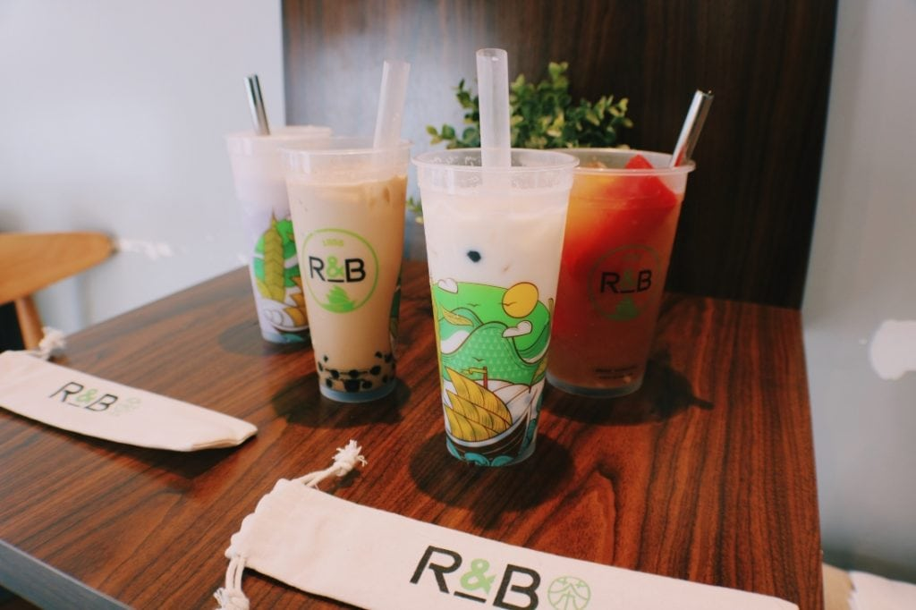 R&B boba tea drinks on wood table